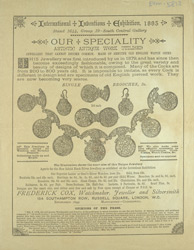 Advert for Frederick Cox, jewellery seller
